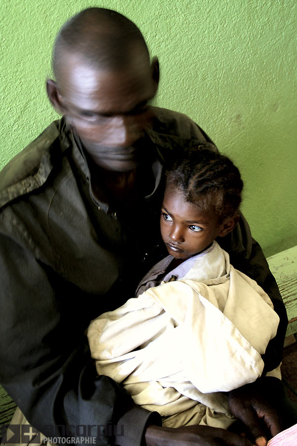 Father and daughter at hospital in Ethiopia.